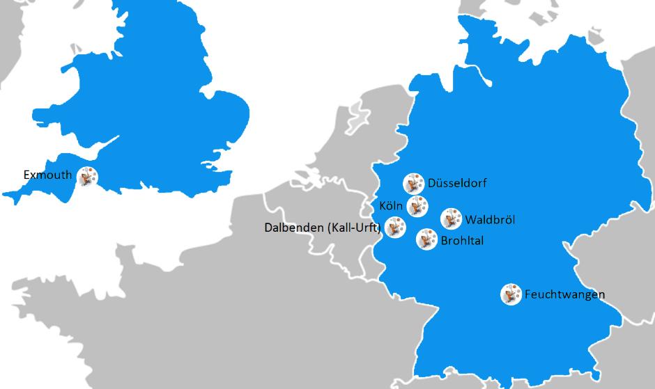 Standortkarte Move-It Deutschland und England